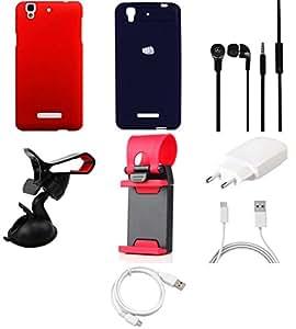 NIROSHA Cover Case Charger Headphone USB Cable Mobile Holder car Combo for YU Yureka Combo