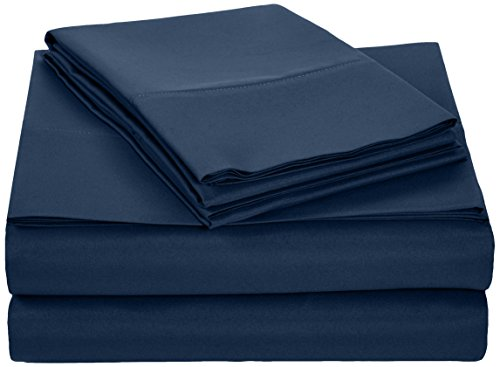 AmazonBasics Microfiber Sheet Set - Full, Navy Blue (Blue Bed Sheets Full compare prices)