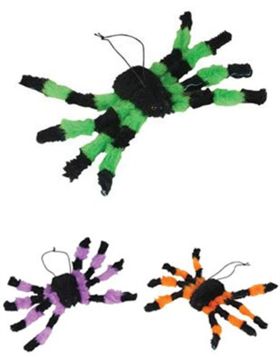 "Scary Halloween Decor 12"" Green Plush Spider Decoration"