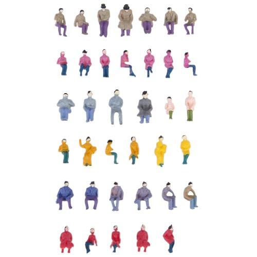 Environ. 50pcs Figurines Passagers Assis Peints Miniature Décor pour Train Echelle 1:87 HO
