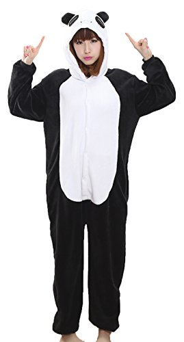 Nicetage Unisex Adult Pajama Onesies Fleece One Piece Halloween Costumes Panda XL (Panda Costume Adult)