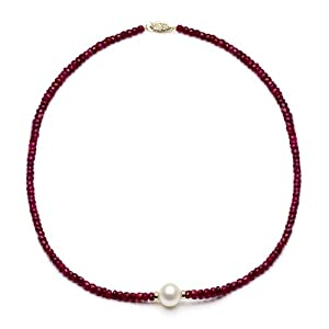 14k Yellow Gold 12-13mm Freshwater Cultured Pearl 4-5mm Red Ruby Gemstones Necklace 18