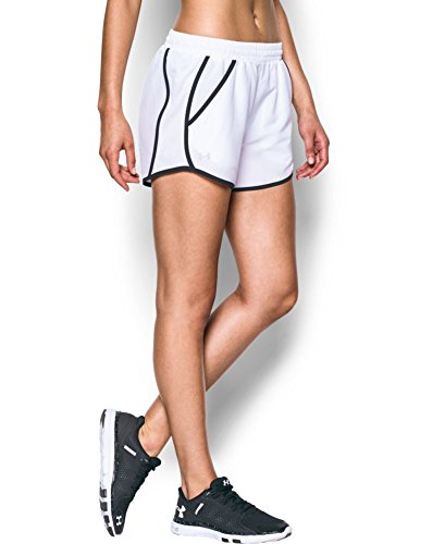 Under Armour Women's UA Fly-By Run Short MD (US 8-10) x 3.5 White