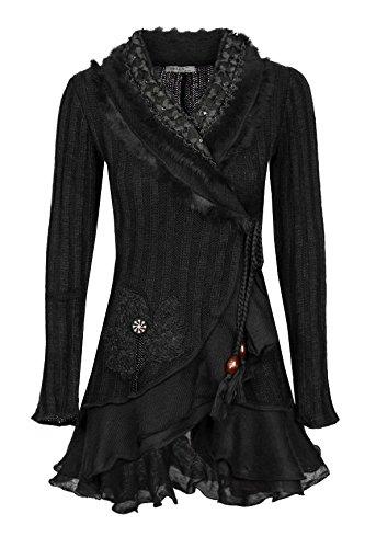 Damen Strick Woll Patchwork Jacke Strickjacke Wolljacke Patchworkjacke Mantel S M L XL, Farbe:Schwarz;Größe:36/38