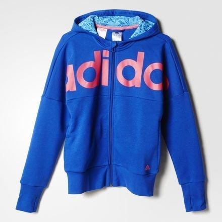 Ragazza adidas Sport tempo libero con cappuccio Ward Robe Fun felpa con cappuccio e Zip colore blu/rosa