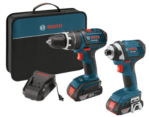 Bosch CLPK244-181 18-volt Lithium-Ion 2-Tool Combo Kit with 1/2-Inch Hammer Drill/Driver, Impact Driver, (2) 2.0Ah Batteries, Charger and Case