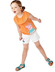 2 Piece Cotton Rich Peppa Pig Top & Shorts Outfit