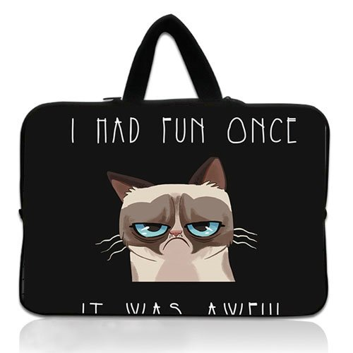 New Custom 10 Inch Portable Laptop handbag With Grumpy Cat Cat Funny Sadness Grief Neoprene Laptop Sleeve for 10 10.1 Inch Laptop Bag Cover(Twin Sides)