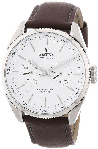 Festina F16629/1 - Reloj analógico de cuarzo para hombre con correa de piel, color marrón