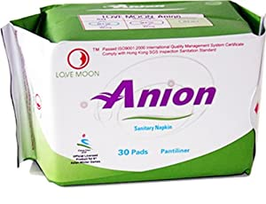 Winalite Anion Love Moon Sanitary Napkins/pads for Everyday Comfort Great Feminine Health Pantiliner Pads Single Package (Total of 30 Individually Wrapped Pads)