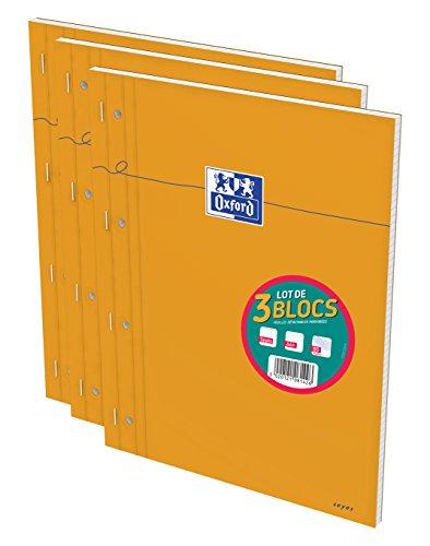 oxford-lot-de-3-blocs-a4-carreau-perfore-orange
