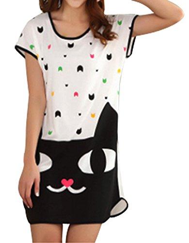Columbustore Women's Cartoon Cat Nightshirts Cotton Chemises Slip Sleepwear White 9