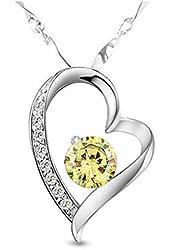 KATGI 18K Gold Plated Austrian Crystal Heart Shape Pendant Necklace