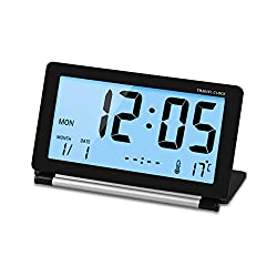 [Upgraded Version] Sungwoo Folding Mini Travel Alarm Clock with Soft Blue Backlight, Display Time Temperature Date Week (Black)