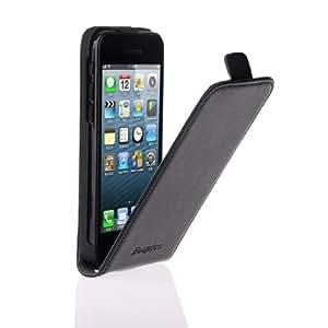 EasyAcc® Protection iPhone 5C Véritable Cuir Etui Rabat Flip Cover Case pour Coque APPLE iPhone 5C housse (Cuir, Noir,Avec fermeture magnétique,Qualité haute)