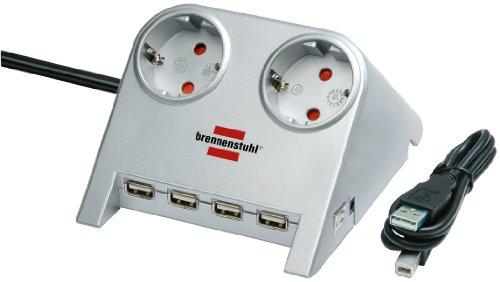 Brennenstuhl-Desktop-Power-Plus-Tischsteckdose-mit-USB-20-Hub-mit-5-V-Buchse-2-fach-silber-1153540122