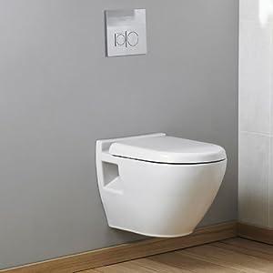 cuvette toilette wc suspendu en cramique blanche design moderne pose murale abattant. Black Bedroom Furniture Sets. Home Design Ideas