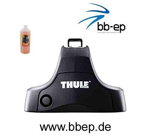 Thule Stahldachträger 90411662 Komplett System inkl. Schloss für VOLKSWAGEN Golf (IV) (Golf 4) mit normalem Dach - inkl. 1 l Kroon Oil ScreenWash