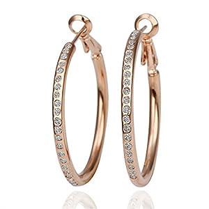 Lekani 18KRGP Plated Base Rose Gold Color Rhinestone Crystal Hoop Earring