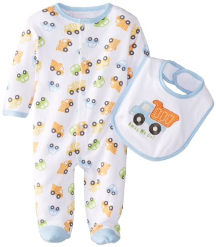 Bon Bebe Baby-Boys Newborn Away We Go Snap Front Footed Coverall With Bib, Multi, 0-3 Months front-1055745