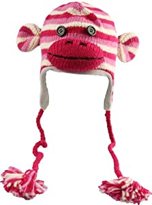 DeLux Sock Monkey Pink Striped Wool Pilot Animal Hat with Ear Flaps and Poms