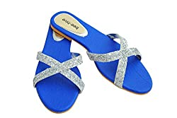 Bee Hive Womens Blue PU Flats (BHV-Criss-Cross-Blue-10) - 10 UK