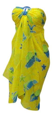La Leela Allover Printed Chiffon Swin Sarong Yellow
