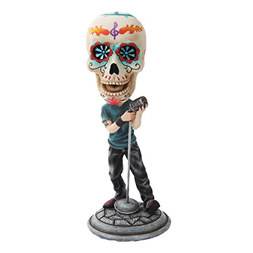 DAY OF THE DEAD BOBBLEHEAD LEAD SINGER ROCK STAR SKELETON FIGURINE