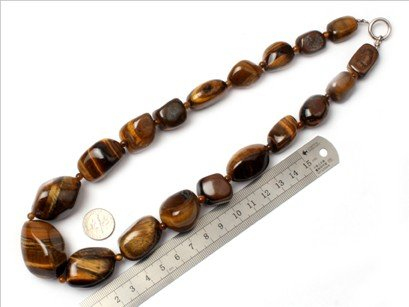 16--30mm graduated tiger eye stone beads strand necklace 18