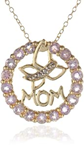 """Goldtone Finish Silver Diamond Accent Amethyst Circle Mom and Butterfly Pendant Necklace, 18"""""""