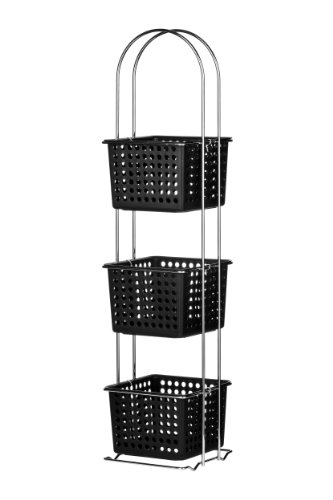 Korbregal 3 Etagen Kunststoffkörbe/ Chromgestell 20x19x85,5cm schwarz