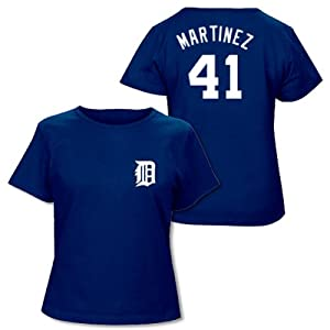 Victor Martinez Detroit Tigers Navy Ladies Player T-Shirt by Majestic by Majestic