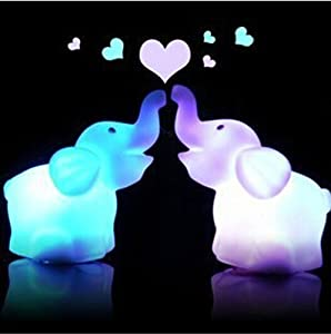 Domire Pack of 2 Color Changing Desk Bedroom Party Wedding Lamp LED Night Light,Elephant from Domire
