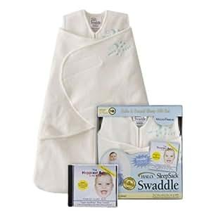HALO SleepSack Micro-Fleece Swaddle & Happiest Baby on the Block CD Gift Set (Velboa Cream) - Newborn