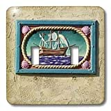 Danita Delimont - California - Decorative tile, Catalina Island, California - US05 AJE0029 - Adam Jones - Light Switch Covers - double toggle switch