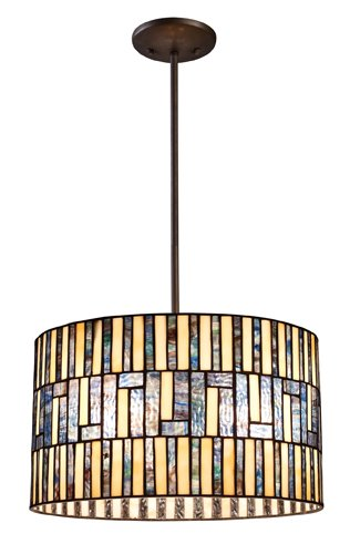 Landmark 72050-3 Ocean Mirage 3-Light Pendant, 9-1/2-Inch, Dark Bronze