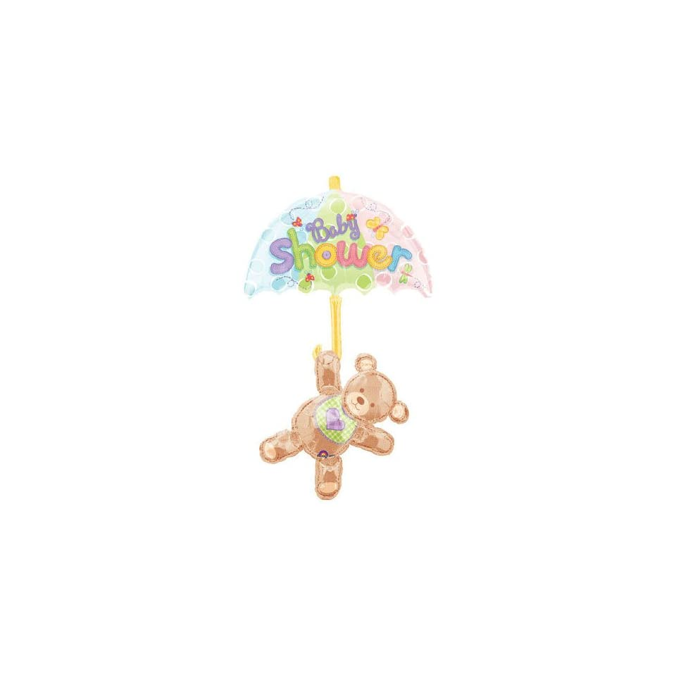 Hugs & Stitches Baby Shower Bear Jumbo Mylar Balloon   24 x 49