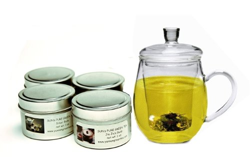 Sun's Tea (TM) Organic Green Tea Samplers -- 4 tins (120 cups) with glass tea mug/infuser (Free shipping on tea order of $25.00 -- you can mix and match any teas from Sun's Tea)