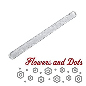 Cake Boss Acrylic Fondant Rolling Pin with Flower and Dot Pattern Decorating Tools,... by Cake Boss