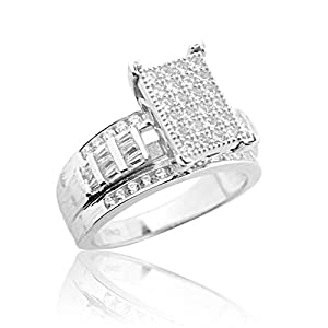 2.5ctw 3 in 1 Style Bridal Wedding Ring 14mm Wide Round and Baguette CZ Sterling Silver by ICG