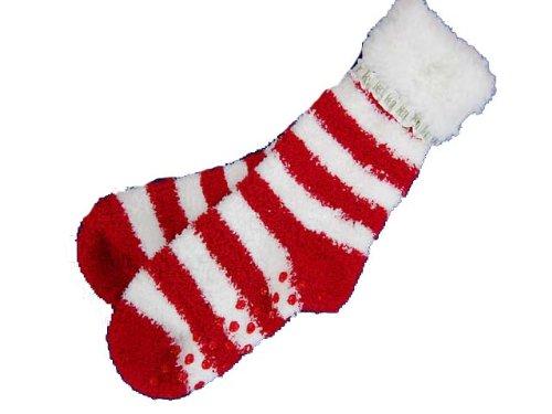 Image of Karen Neuburger Gripper Slipper Socks Stripe Red White Non Skid One Size (B002P9G8HI)