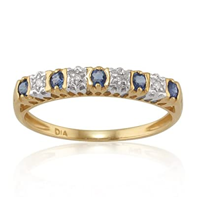9ct Yellow Gold 0.24ct Natural Sapphire & Diamond Half Eternity Ring