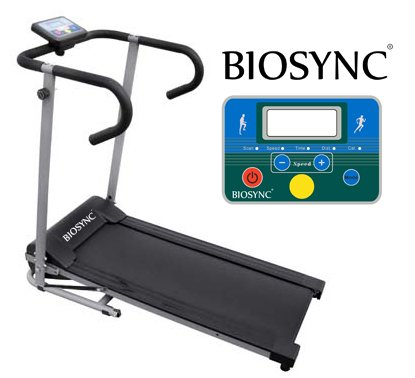 Biosync Foldable Running Machine Powered Treadmill with Safety Auto-Stop Mode 1-10Km/hr Speed Control, Computer w/ Scan, Speed, Time, Distance  &  Calories