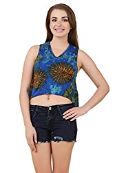 Mojeska Handmade Women's Sexy Tie Dye Open Back with Cut Out Detail Crop Top T-Shirts