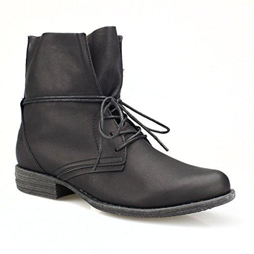 Damen Boots - Legere Boots mit Schnürung um den Schaft schwarz 36