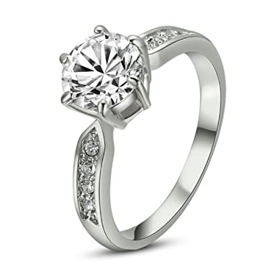 Yoursfs 3.5ct Simulated Diamond Engagement Ring Platinum Plated Rhinestone Jewellery
