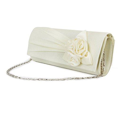 PIXNOR Borsa Mini Tote Bag spalla Pochette donna con Rose decorato (bianco latte)