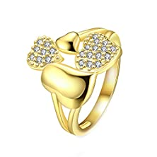buy Jl Pretty Yellow Gold Plated Cubic Zirconia Cz Heart Ring Wedding Band For Women Size 8