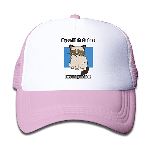 Cool Grumpy Cat Nope Expression Kids Trucker Caps Boys Girls Baseball Hat Adjustable Cotton Pink By JE9WZ
