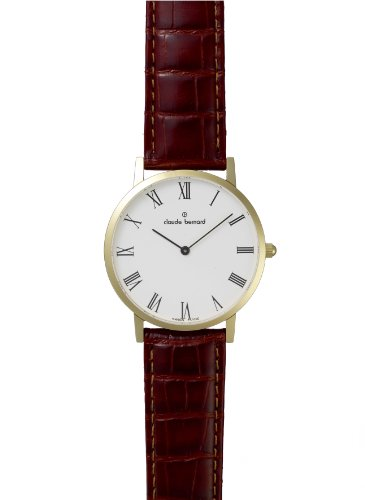 Claude Bernard Men's 20078 37J BR Classic Gents Gold PVD Roman Numerals Brown Leather Watch
